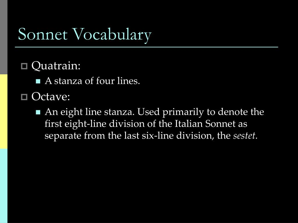 Sonnet Vocabulary