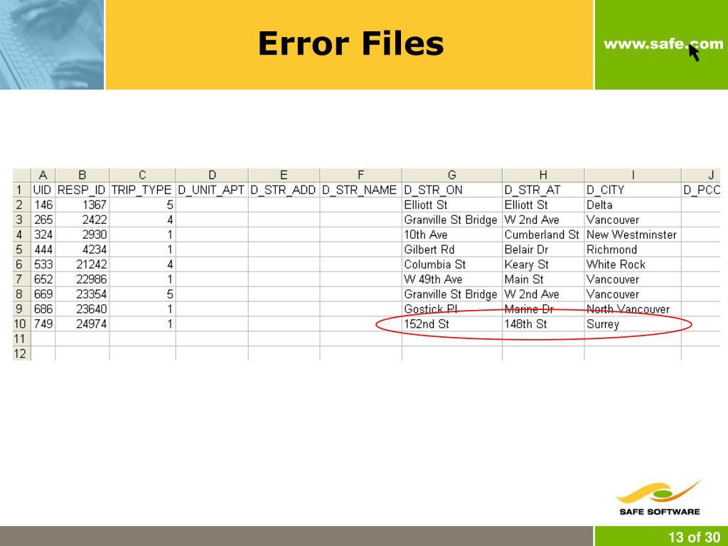 Error Files