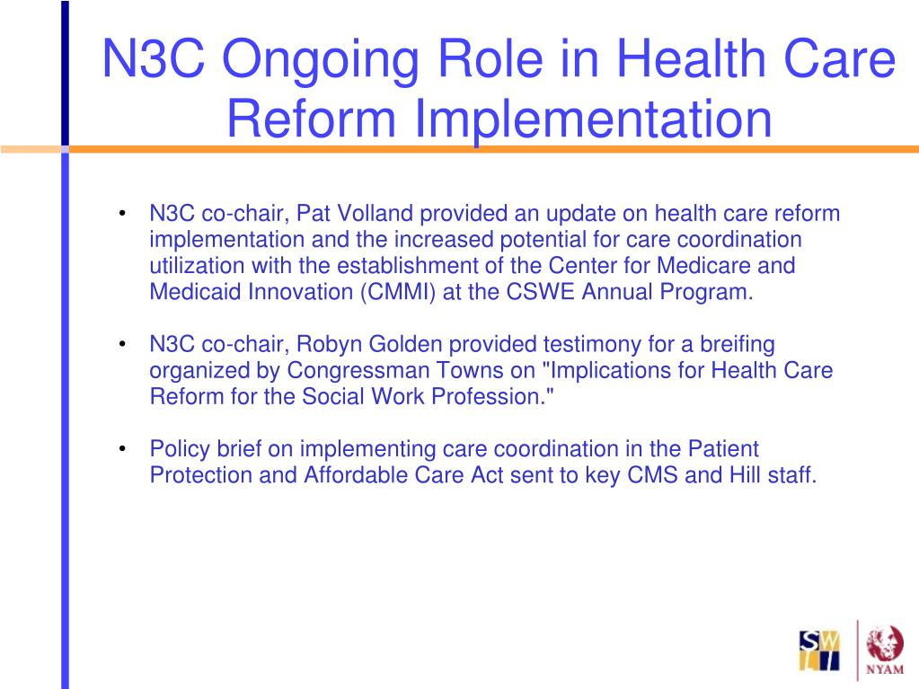 N3C Ongoing Role in Health Care Reform Implementation