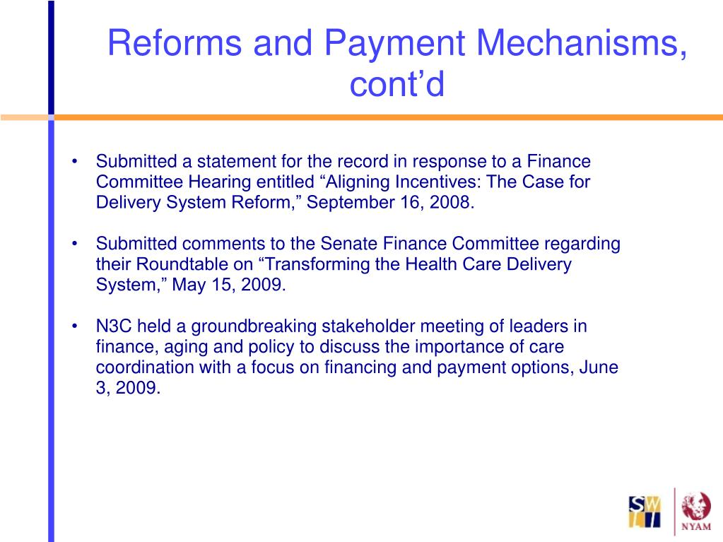 """Submitted a statement for the record in response to a Finance Committee Hearing entitled """"Aligning Incentives: The Case for Delivery System Reform,"""" September 16, 2008."""