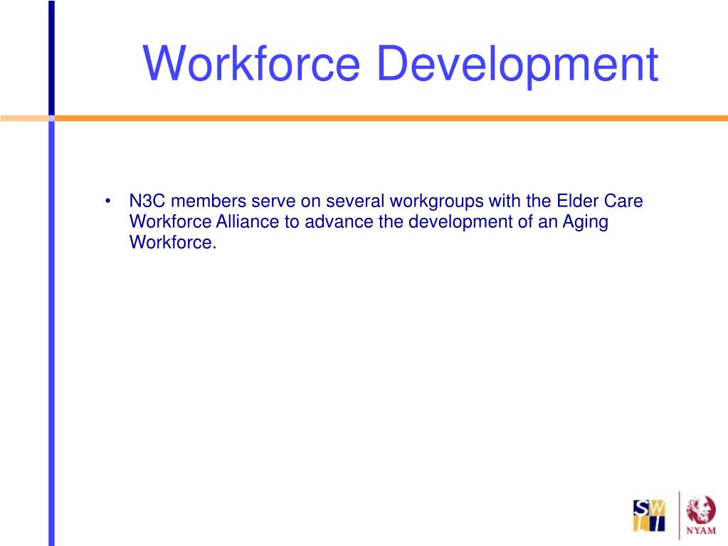 N3C members serve on several workgroups with the Elder Care Workforce Alliance to advance the development of an Aging Workforce.