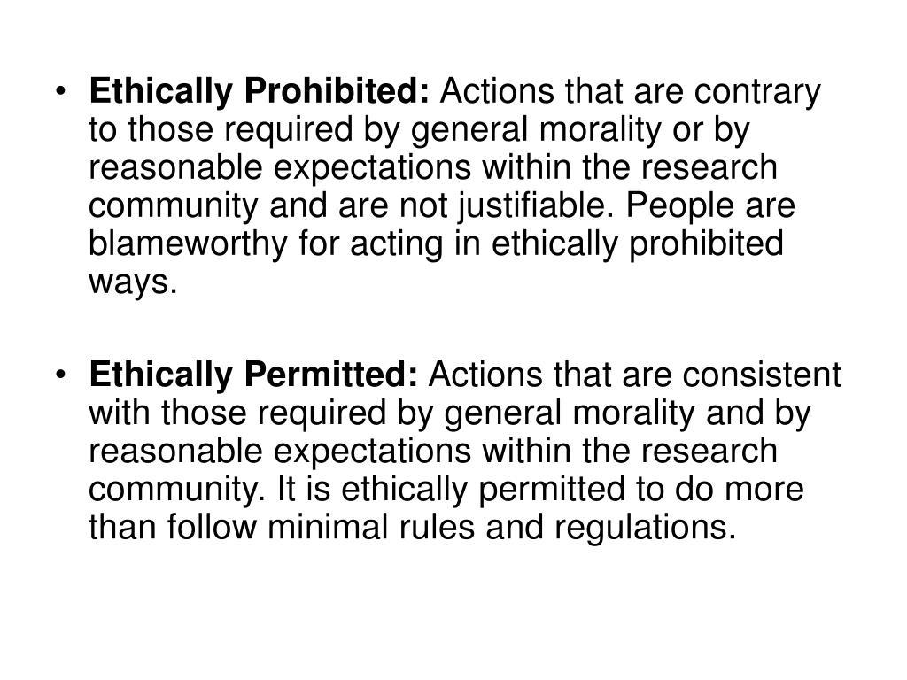 Ethically Prohibited: