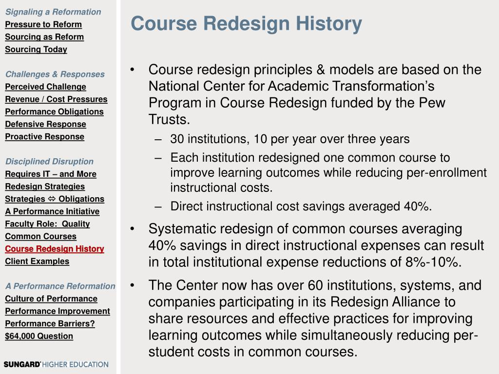 Course Redesign History