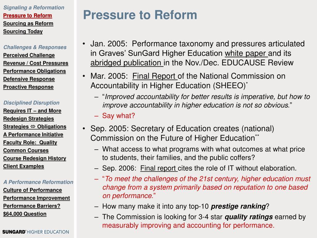 Pressure to Reform