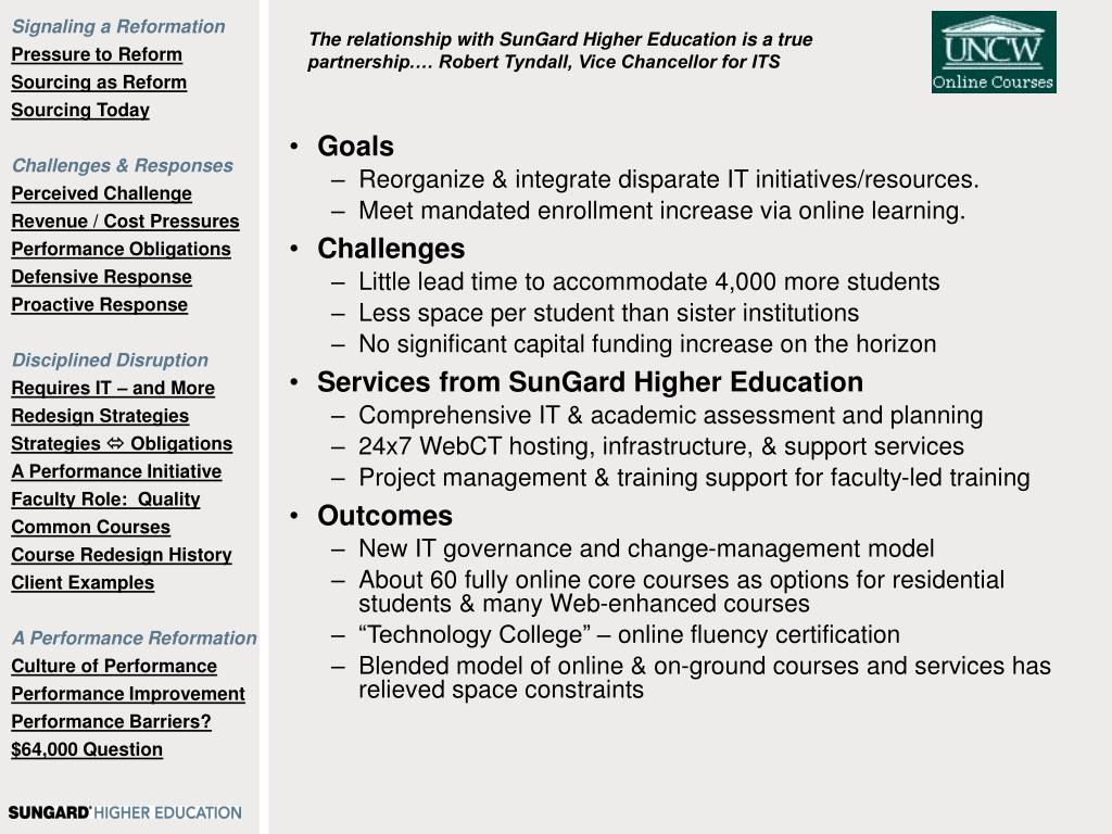 The relationship with SunGard Higher Education is a true partnership.… Robert Tyndall, Vice Chancellor for ITS