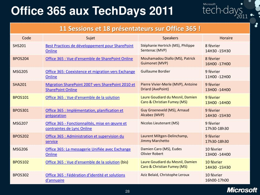 Office 365 aux TechDays 2011