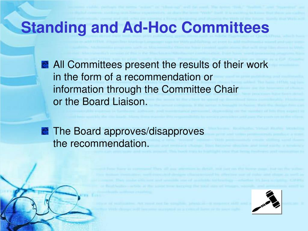 Standing and Ad-Hoc Committees