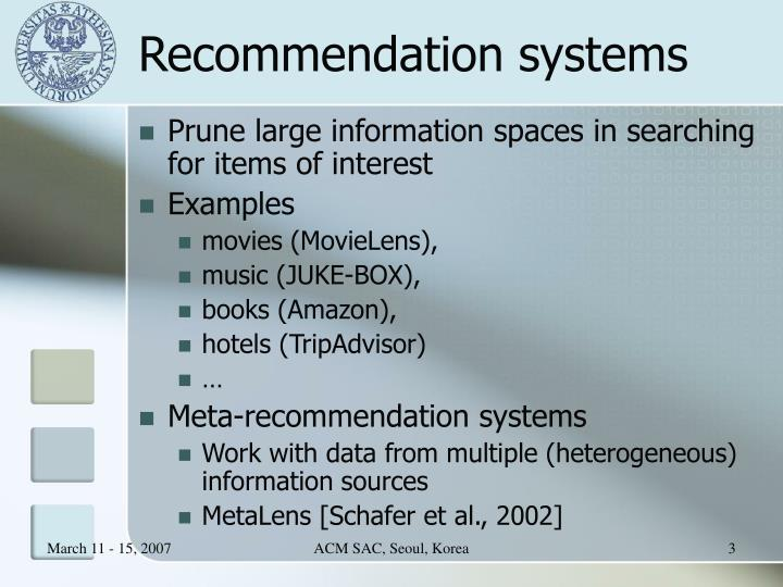 Recommendation systems