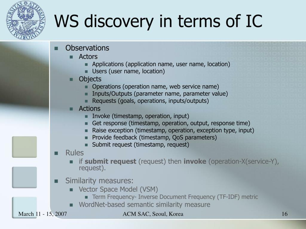 WS discovery in terms of IC