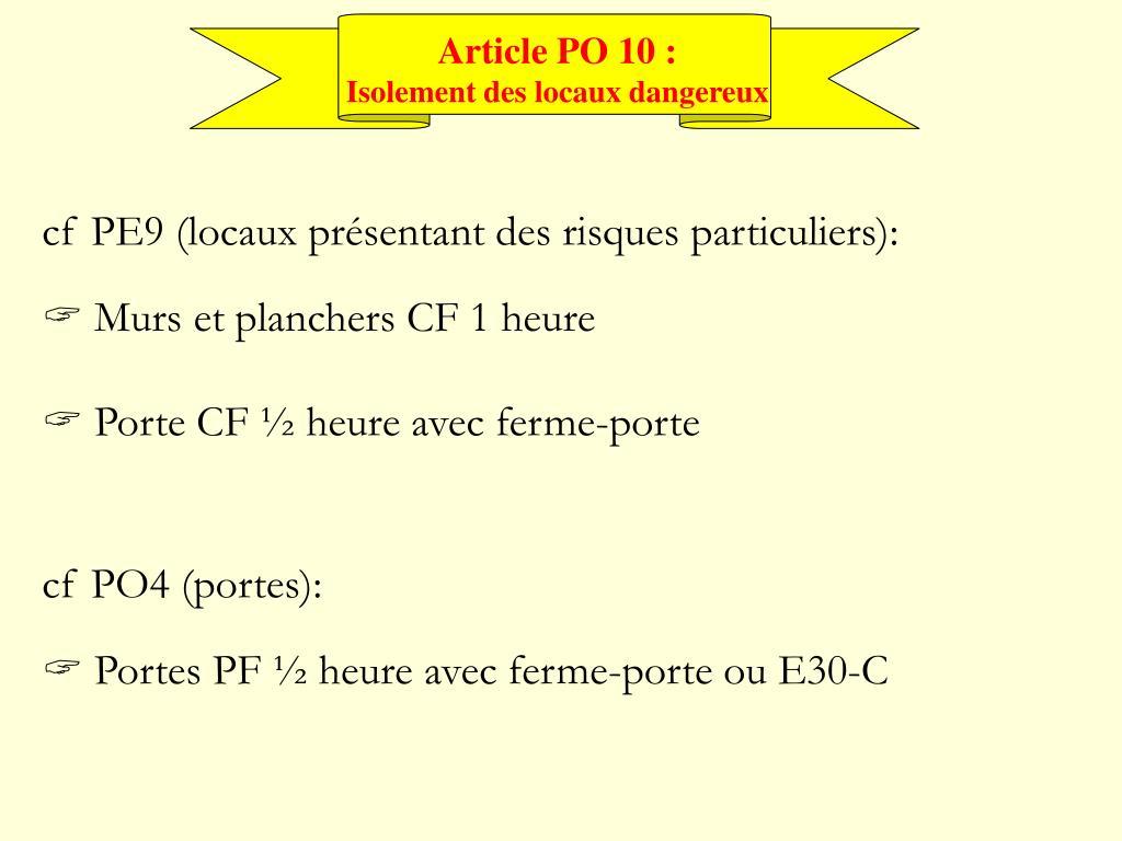Article PO 10 :