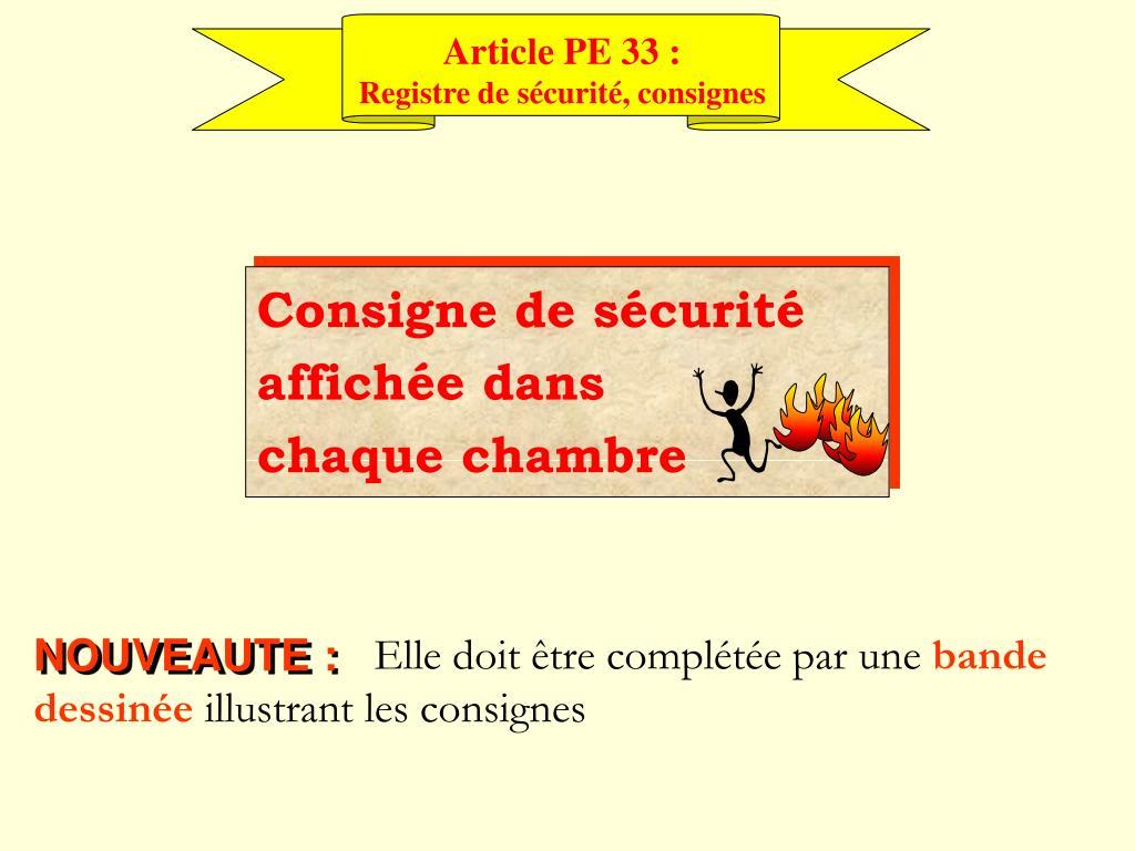 Article PE 33 :