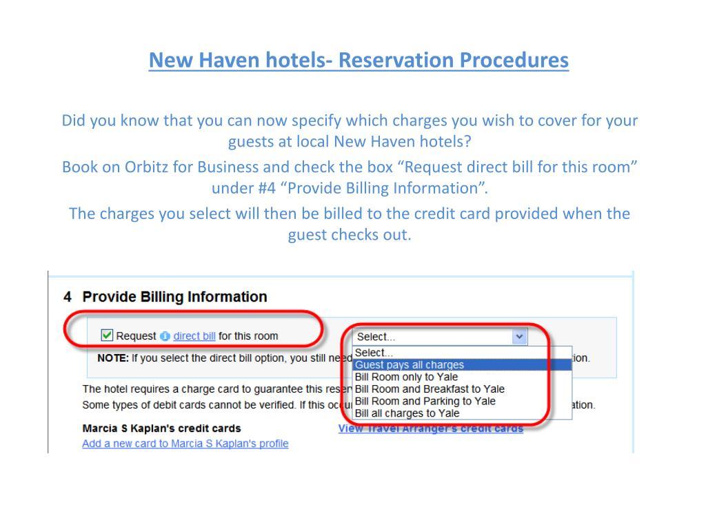new haven hotels reservation procedures