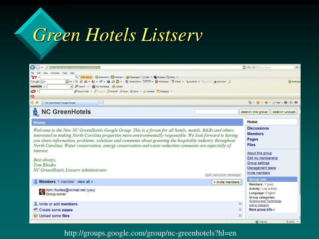 Green Hotels Listserv