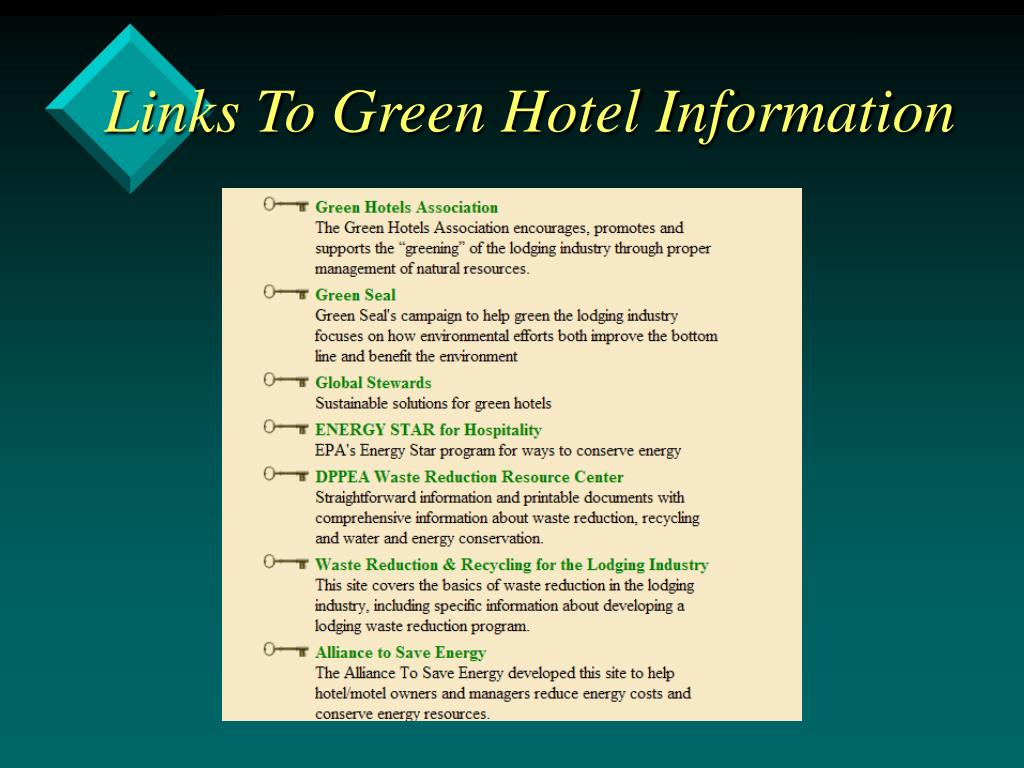 Links To Green Hotel Information