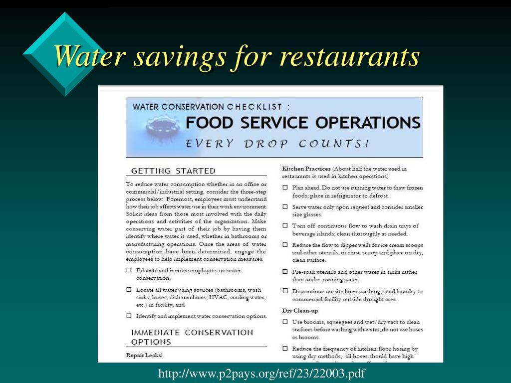 Water savings for restaurants