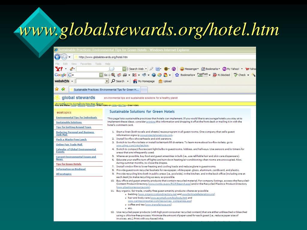 www.globalstewards.org/hotel.htm