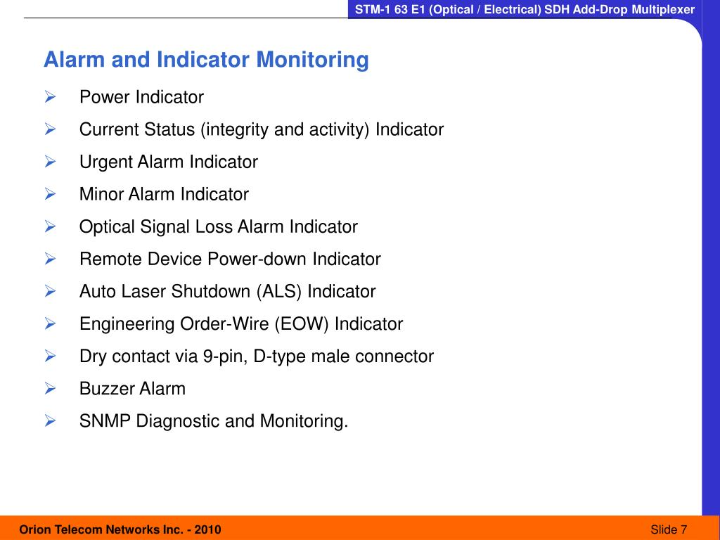 Alarm and Indicator Monitoring