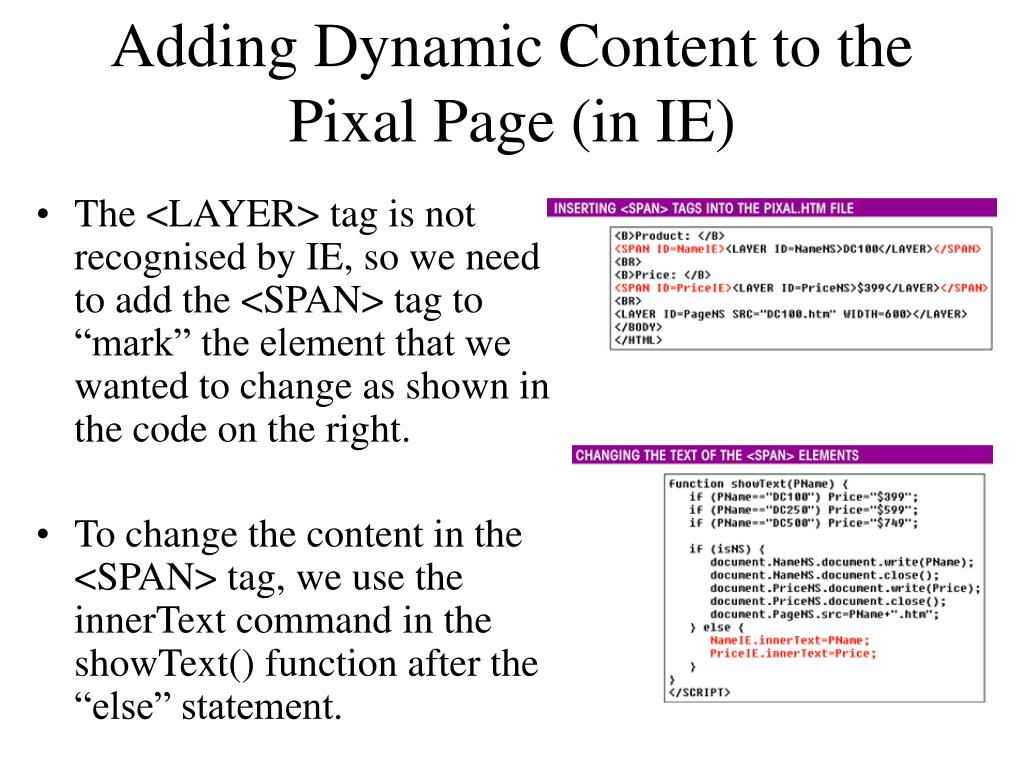 Adding Dynamic Content to the Pixal Page (in IE)