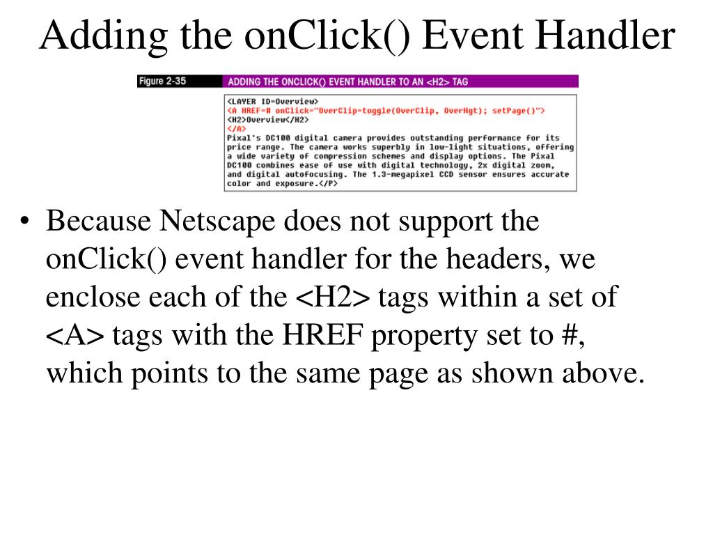 Adding the onClick() Event Handler