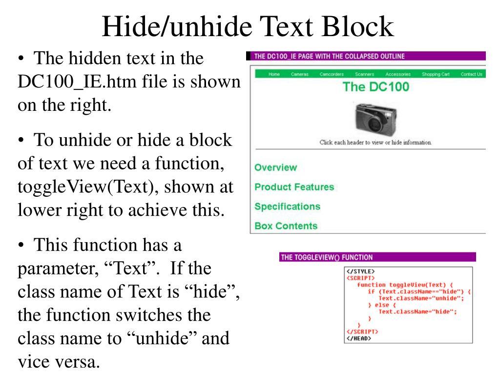 Hide/unhide Text Block
