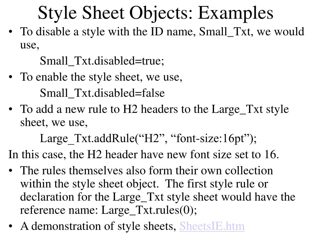Style Sheet Objects: Examples