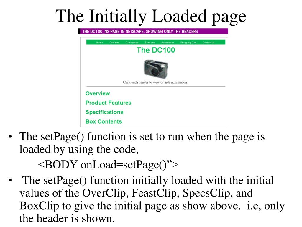 The Initially Loaded page