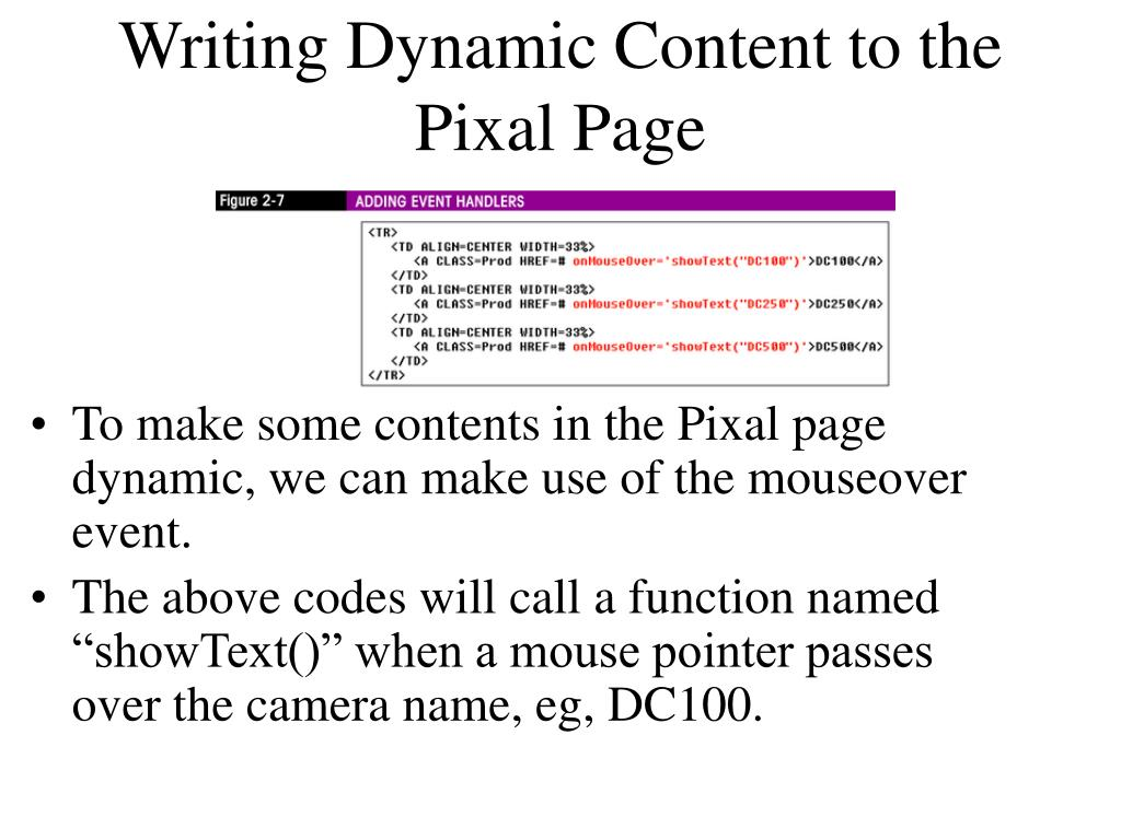 Writing Dynamic Content to the Pixal Page