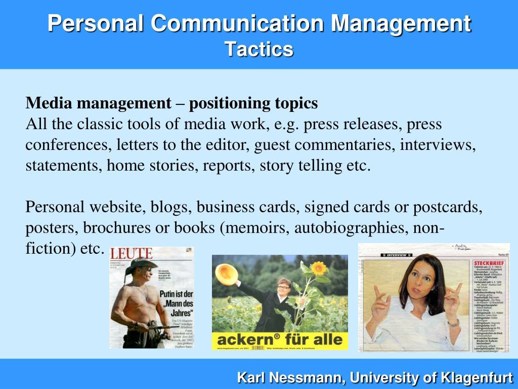 Media management – positioning topics