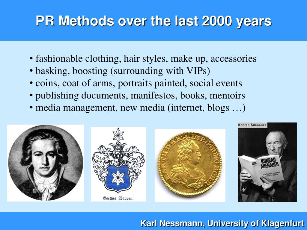 PR Methods over the last 2000 years
