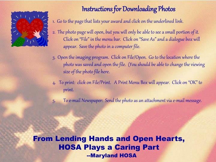 Instructions for Downloading Photos