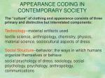 appearance coding in contemporary society