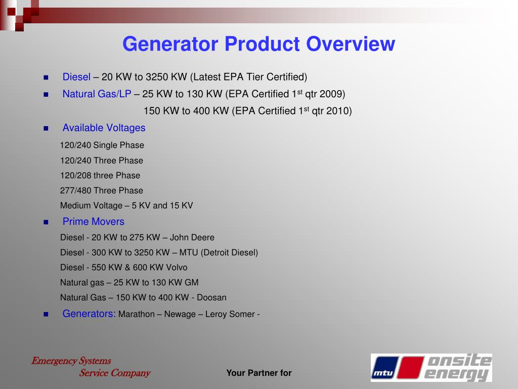 Generator Product Overview
