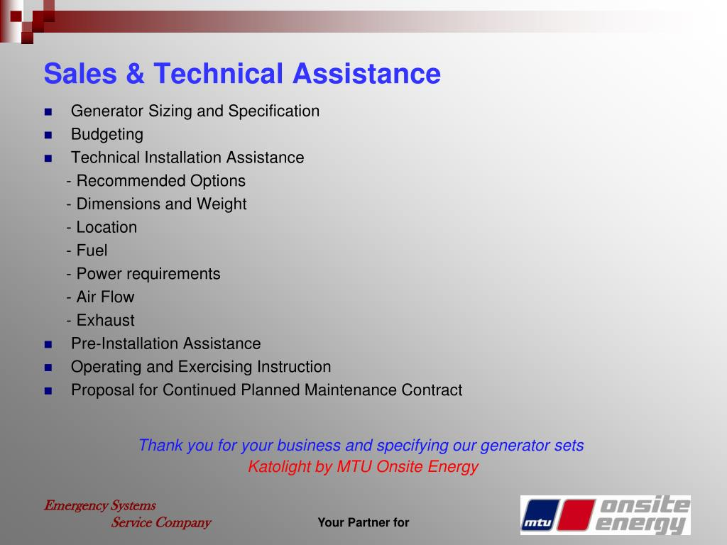 Sales & Technical Assistance