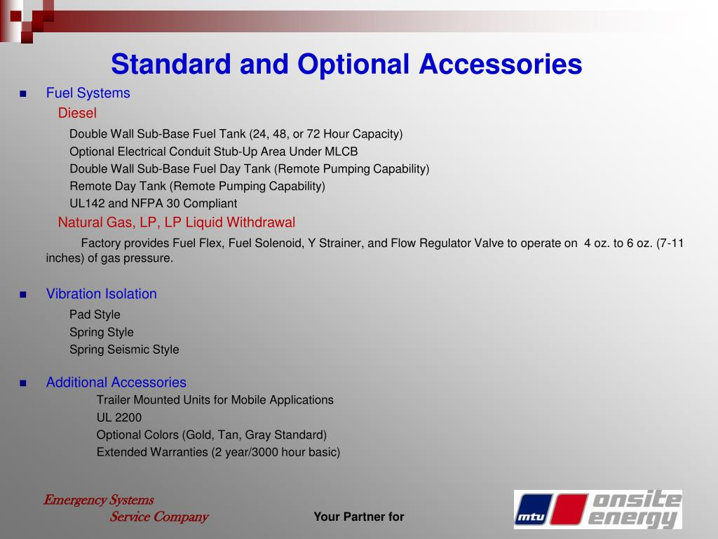 Standard and Optional Accessories