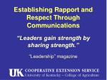 establishing rapport and respect through communications