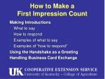 how to make a first impression count