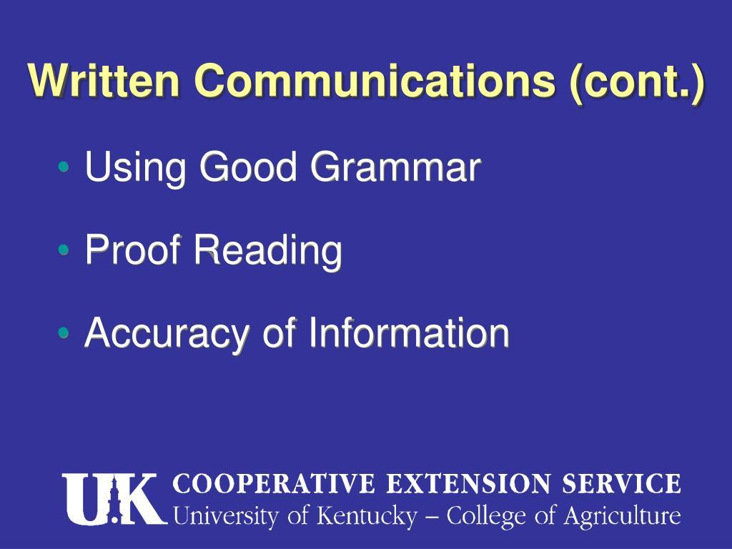Written Communications (cont.)