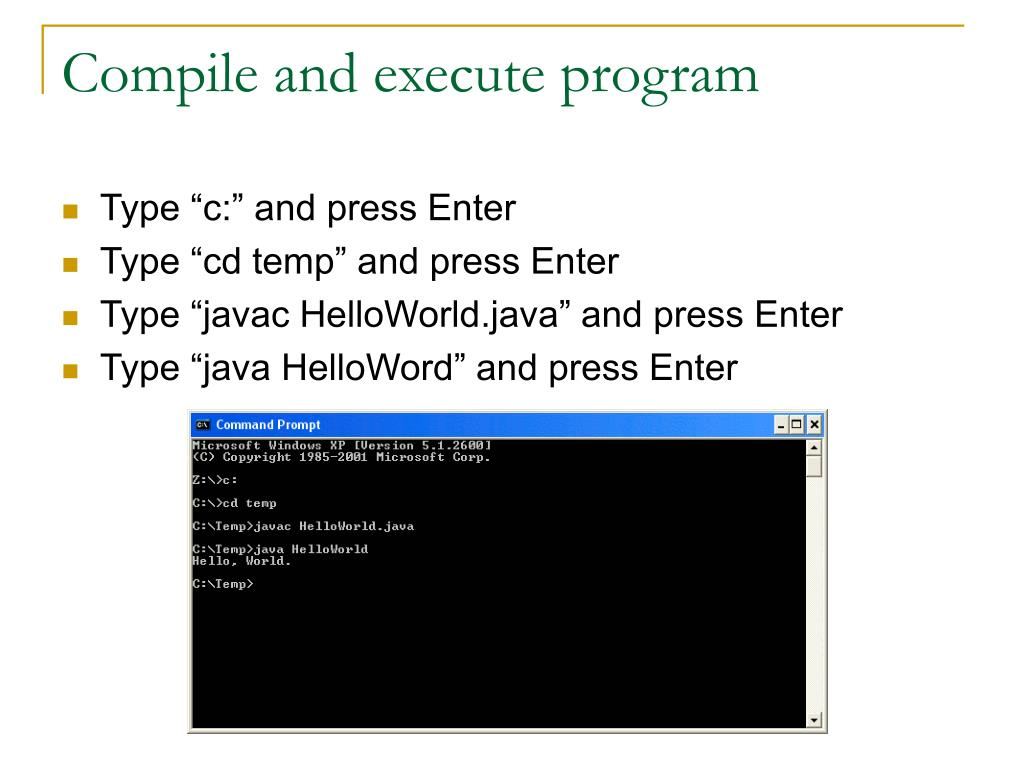 Compile and execute program