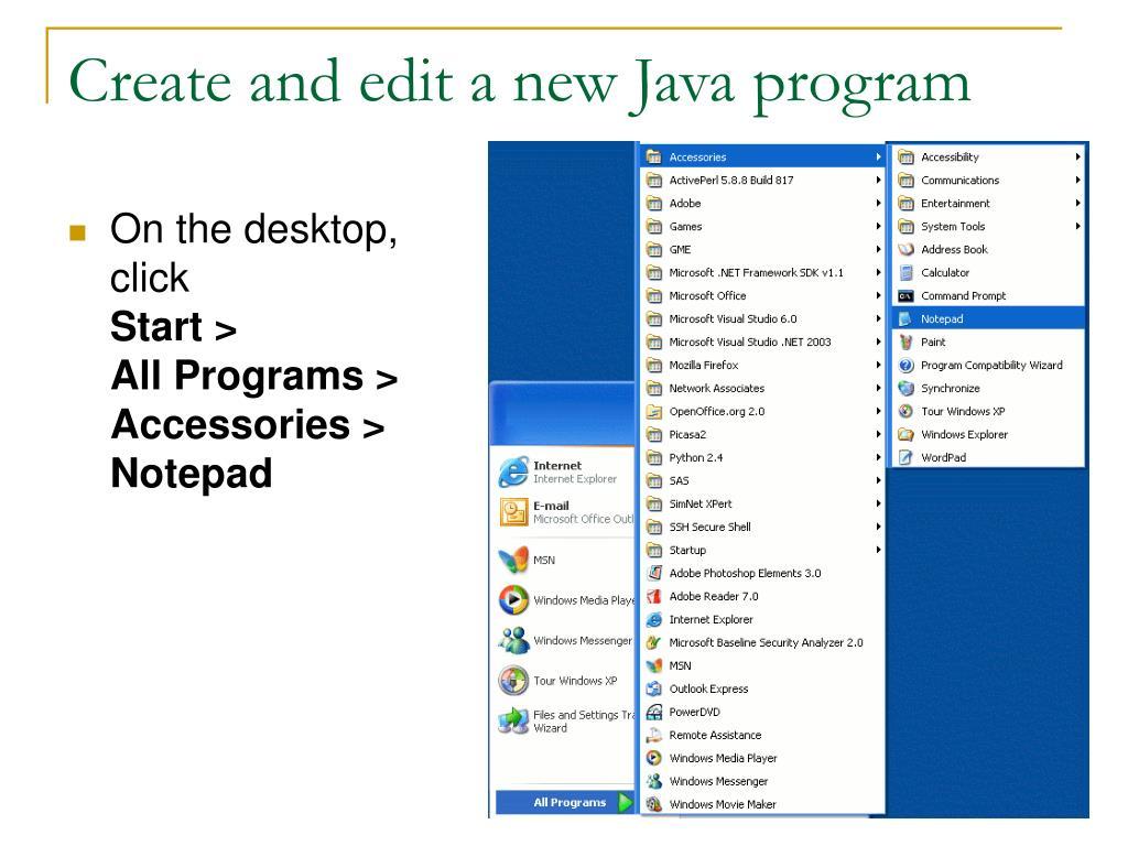 Create and edit a new Java program