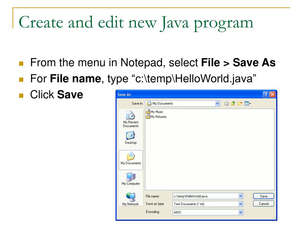 Create and edit new Java program