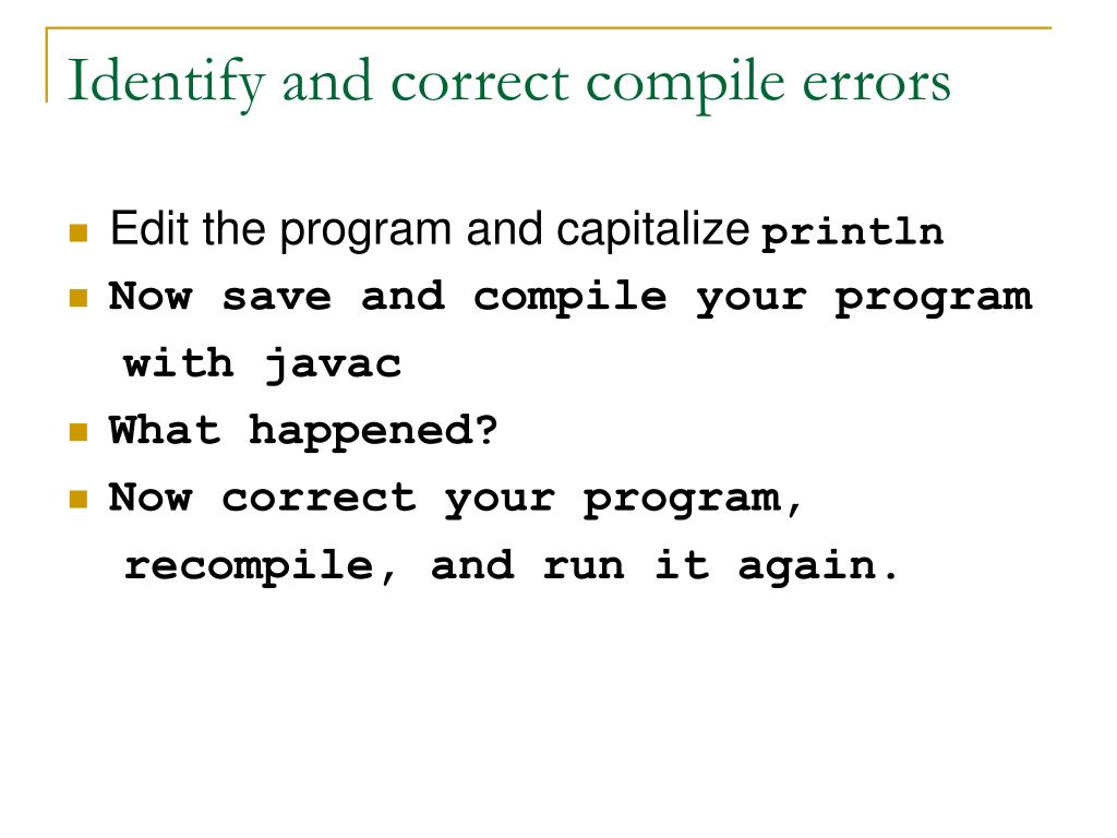 Identify and correct compile errors