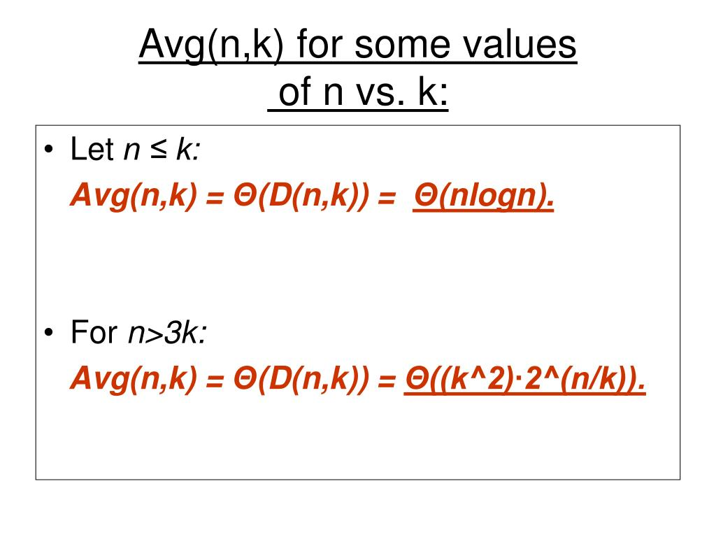 Avg(n,k) for some values