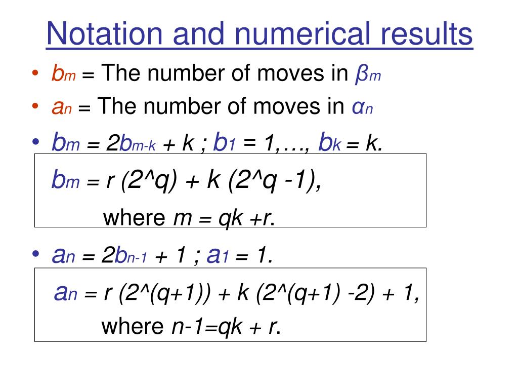 Notation and numerical results