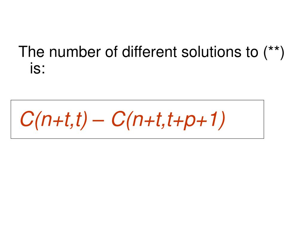 The number of different solutions to (**) is: