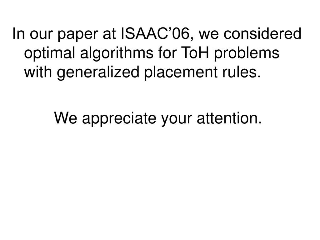 In our paper at ISAAC'06, we considered optimal algorithms for ToH problems with generalized placement rules.
