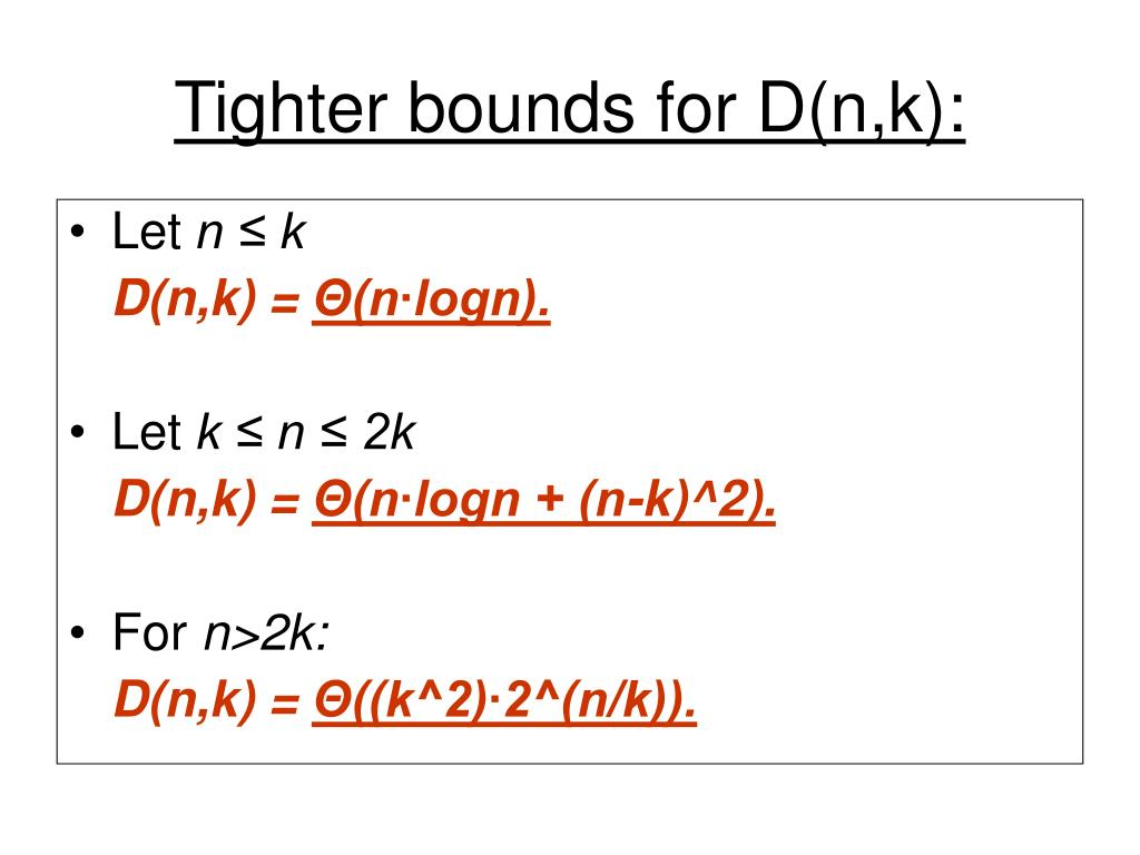 Tighter bounds for D(n,k):
