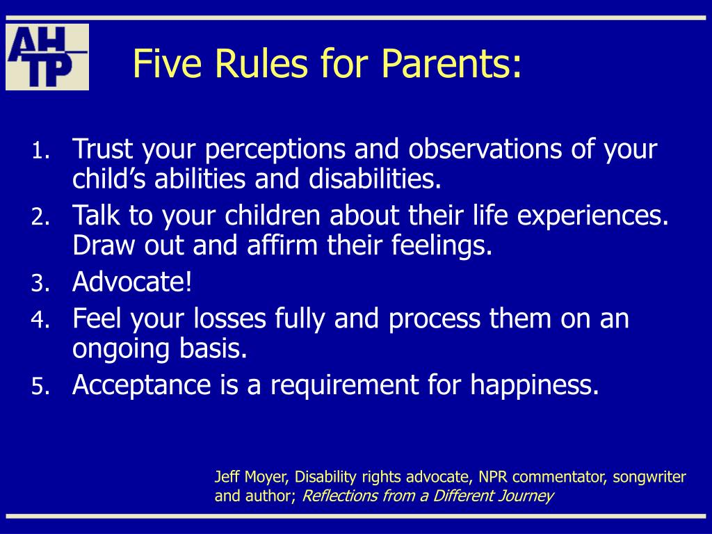 Five Rules for Parents: