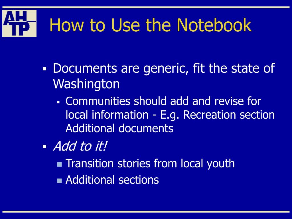 How to Use the Notebook
