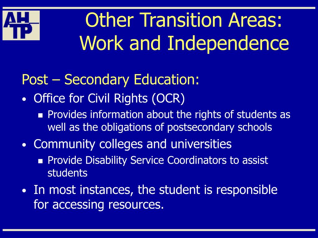 Other Transition Areas: