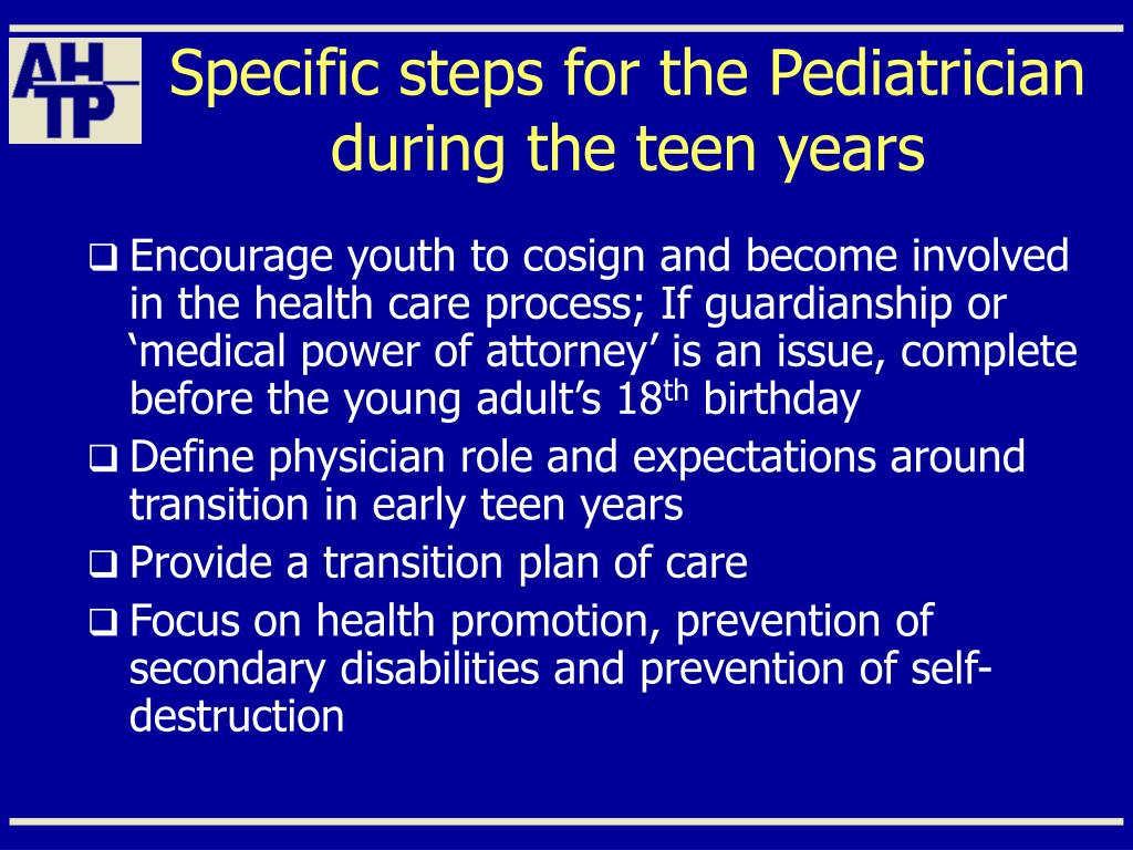 Specific steps for the Pediatrician during the teen years